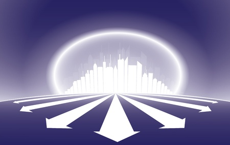 emerge: City skyscrapper silhouette illustration with a halo glow around the city and emerging arrows from it.