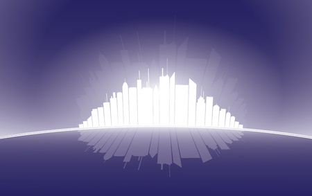 emerge: City high rise silhouette illustration glowing in white against dark blue background.  Illustration