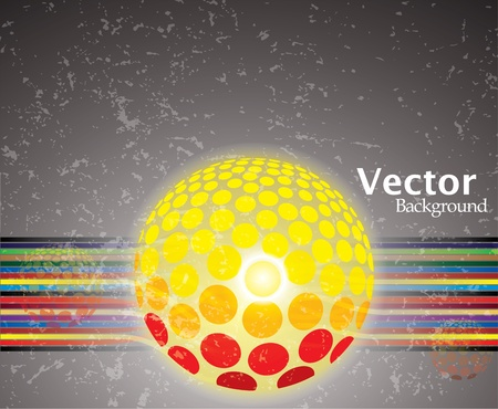 Abstract colorful lines with glowing ball on grunge background . Stock Vector - 12436142