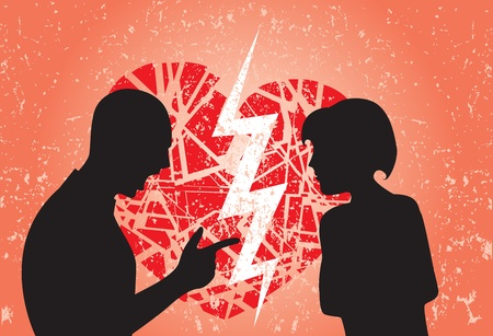 Man and woman having break up. Image showing broken heart on a grunge background. Vector