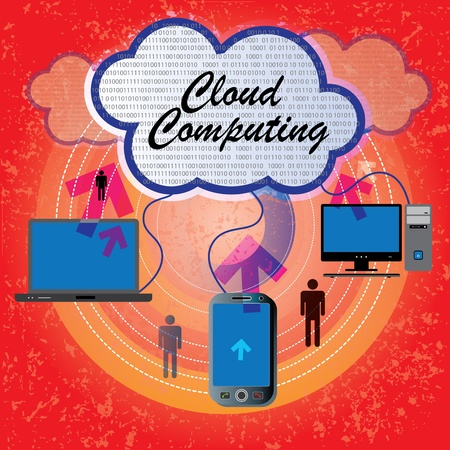 Cloud computing concept. Computers, mobile, laptop communicating with resources located in the  Stock Vector - 12436146