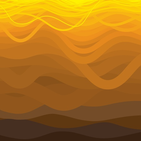 Curved and wavy lines in brown orange and yellow shades   Vector