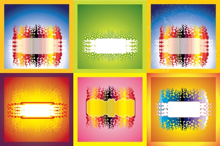 with space for text: Six designs of abstract colorful lines, balls, shapes and designs with space for text against glowing backgrounds Illustration