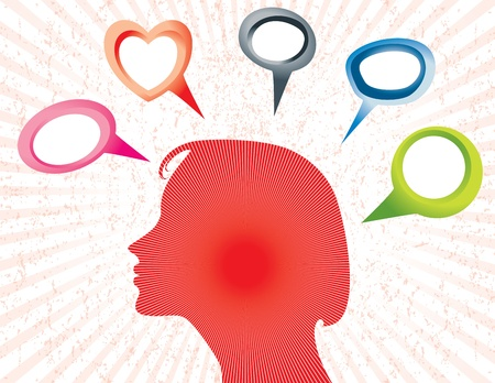 interact: Illustration of Silhouette of a woman with empty speech bubbles. Illustration