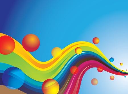 gocce di colore: Concetto di spazio e dei pianeti colorati con colorati onde di energia che scorre nello spazio esterno con cielo blu e lo spazio copia in background