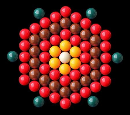 periphery: Colorful snooker balls arrange in hexagonal shape with white and yellow balls in center, red, brown, green balls on the periphery