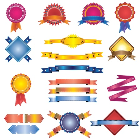 Colorful set of vintage labels, badges and ribbons for usage in web, brochures, prints, etc Stock Vector - 12989948