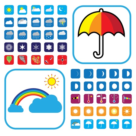 Weather icons set showing 50+ signs and symbols fro websites, newspapers, etc. Stock Vector - 13107249