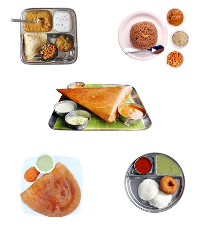 dosa: Indian breakfast items-dosa, idly, chapatti and pilaf with chutney and curries isolated Stock Photo