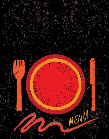 Hand drawn restaurant menu design concept showing a plate, fork and knife. AI EPS10 Vector file. Vector