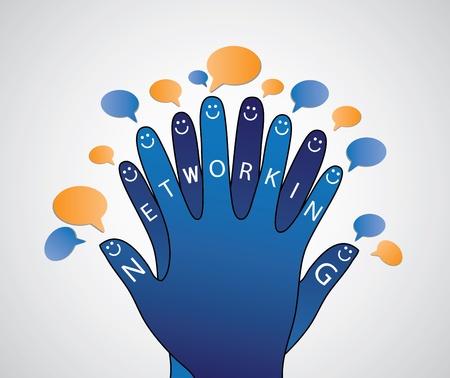 personas comunicandose: Concepto de redes sociales de las personas en la conversación con los demás.