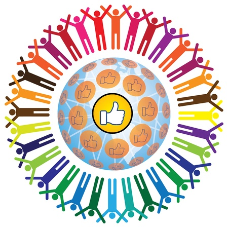 communicating: Global social networking concept of people teamworking and recommending each other as a community  A colorful illustration with connected people and like symbol  Illustration