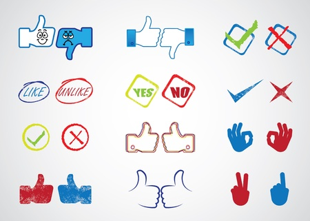 disapproval: Internet website icons for approval, disapproval, like, unlike, yes, no, thumb up, thumn down, right, wrong, correct, incorrect, etc  Illustration