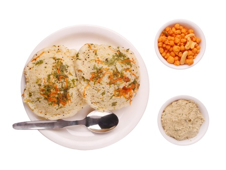 indian mustard: Traditional karnataka cuisine and delicacy rava idly , chutney and mixture isolated on white