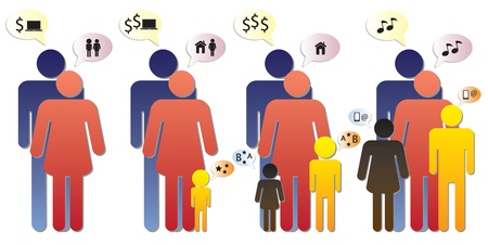 Graphic of a nuclear family showing different phases in time and changing needs. Vector