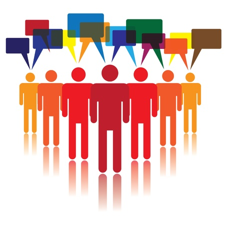 diverse business team: Social media concept of people talking and listening to each other