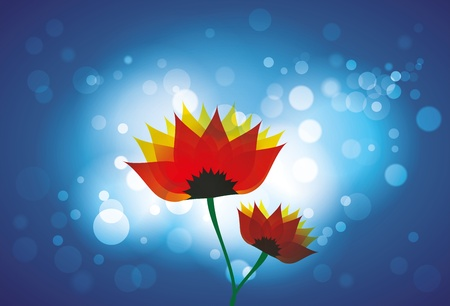 Beautiful red and orange spring daisy flowers against bright light, blue background with bokeh. Vector