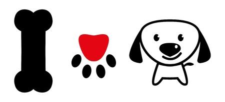 welpe: Ich liebe Hund Nachricht mit Knochen, pup Pfote mit Liebe Symbol und einem niedlichen Welpen
