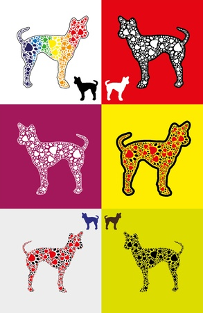 side viewing: Silhouette of dog with footprints in various sizes and colors - common colors to rainbow colors.