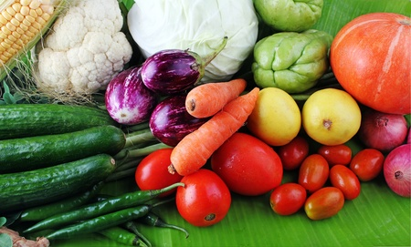 brinjal: Fresh colorful vegetables from organic farm showing various vegtables including cucumber, tomato, brinjal, carrot etc.