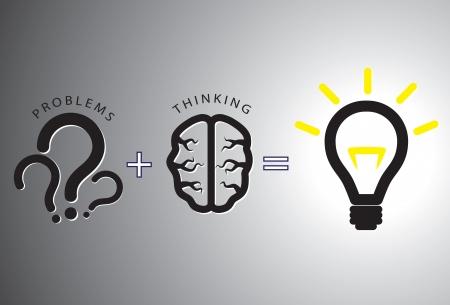 resoudre probleme: Concept de solution Probl�me montrant la r�solution de probl�mes en utilisant le cerveau par la pens�e et la cr�ativit�. Les points d'interrogation sont repr�sentatifs de probl�mes tout en ampoule incandescent est repr�sentatif de la solution. Illustration