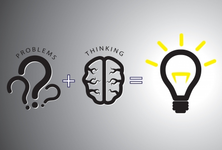 Problem solution concept showing problems solving using brain by thinking and creativity. Question marks are representative of problems while glowing bulb is representative of solution. Vector
