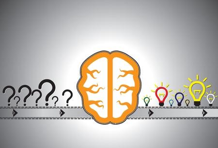 Problema concetto di soluzione che mostra la risoluzione dei problemi usando il cervello come una macchina automatizzata (catena di montaggio). I punti interrogativi sono rappresentativi di problemi durante la lampadina incandescente è rappresentativo di soluzione. Vettoriali