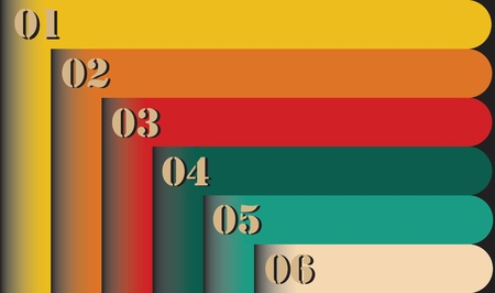 Group of colorful retro style six empty numbered labels for lists. This set of varicolored trendy banners can be used in webpages, etc. Vector
