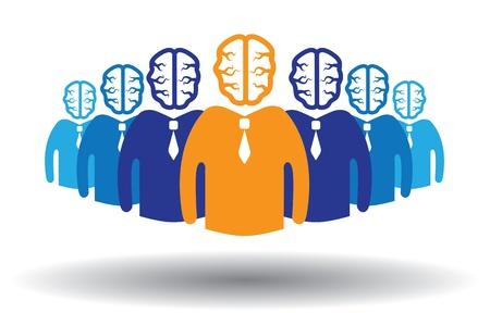 unique concept: Concept of success of a person in a group. Can also accomplishment of success in corporate establishment. Illustration