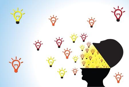 visualize: La testa della persona aperto mostrando idee in fase di creazione e di fluire fuori a causa di creativit�, l'intelligenza e l'immaginazione