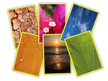 elemental: Photos of basic elements of nature collage arranged in an interesting way  The photos is of water droplets, cracked earth, flower, leaf, sun, sky and sea  Stock Photo