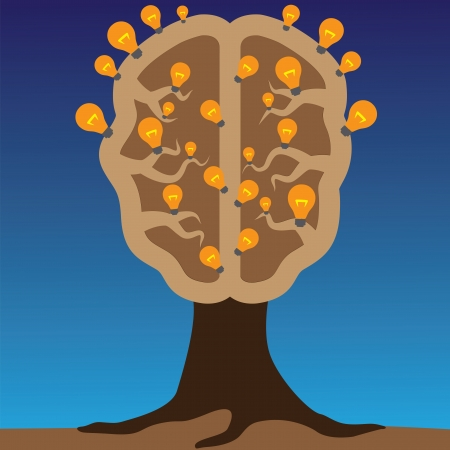 clever: Concept of brain as a tree with bulbs as solutions to problems  Concept of using brain to create great ideas to solve human problems  Illustration