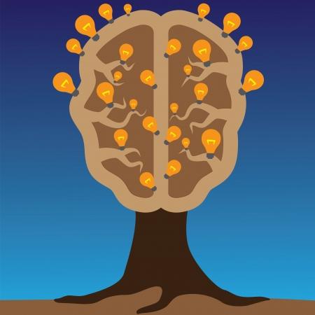 eq: Concepto del cerebro como un �rbol con bombillas como las soluciones a los problemas de concepto de usar el cerebro para crear grandes ideas para resolver los problemas humanos Vectores