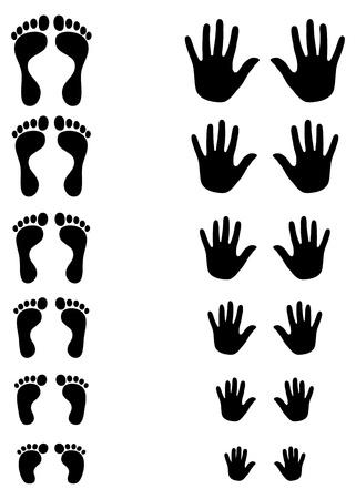 Juego de siluetas de los pies y la palma de niño a niño a un adulto que muestra las formas cambiantes y la evolución