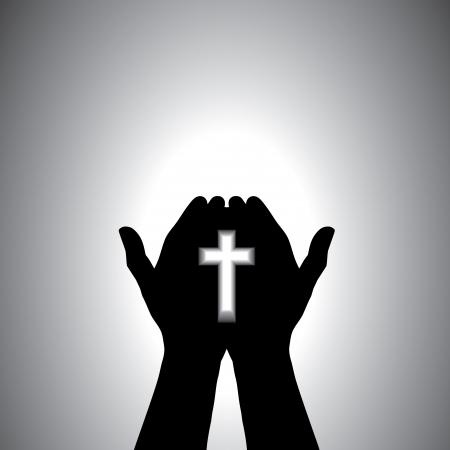 espiritu santo: Orante con la cruz en la mano - concepto de un devoto cristiano cristo culto