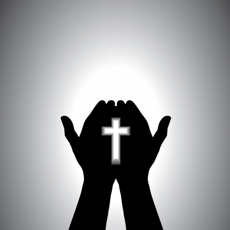 Person praying with cross in hand - concept of a devout christian worshiping christ Vector