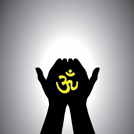 religious symbols: Person praying with sacred hindu symbol in hand - concept of a devout hindu worshiping god