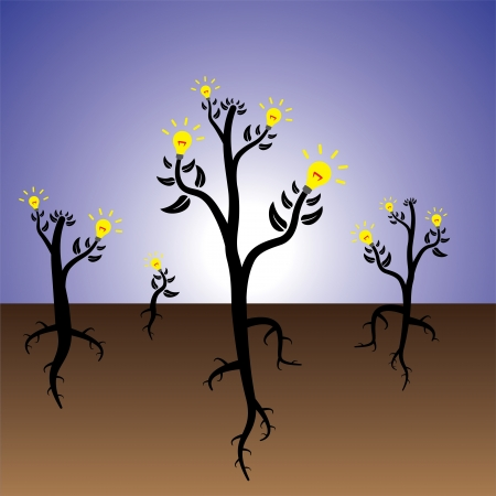 ingenious: Concept of plants of ideas and solution growing in fertile mind.