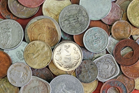 indian currency: Old, vintage and new indian coins background