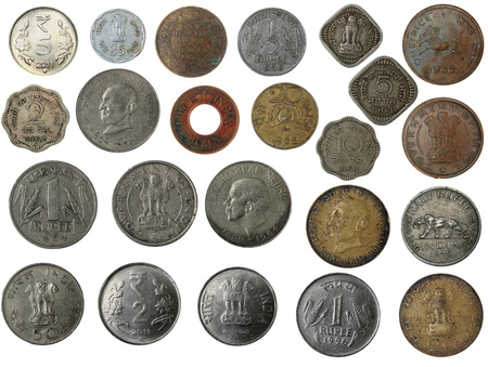 Old, new and antique indian brass, copper, aluminium, silver, and other metal coins isolated on white with clipping mask photo