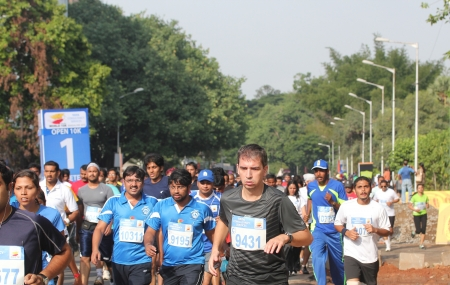 Bangalore, India - May 27  Professional athletes and other participants participate in Tata Consultancy Services World 10K Bangalore Marathon on May 27, 2012 in Bangalore, India