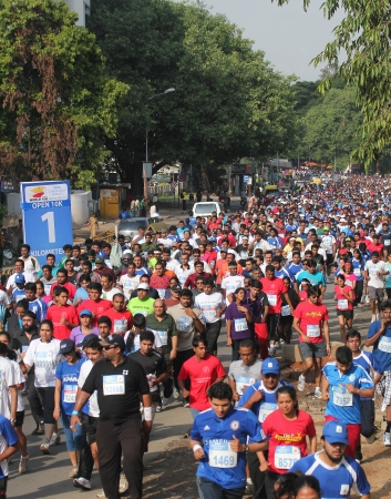 Bangalore, India - May 27: Professional athletes and other participants participate inTata Consultancy Services World 10K Bangalore Marathon on May 27, 2012 in Bangalore, India.