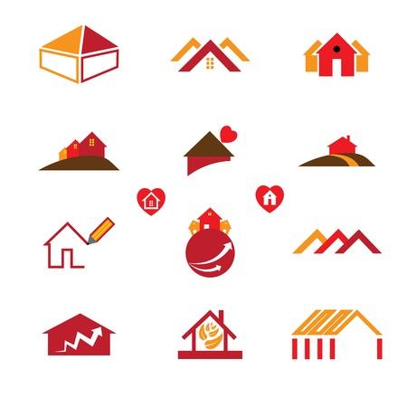 logotipo de construccion: Casa y los iconos de la oficina del logotipo de los requisitos reales de bienes de negocios como tarjetas de visita, folletos, sitios web, etc