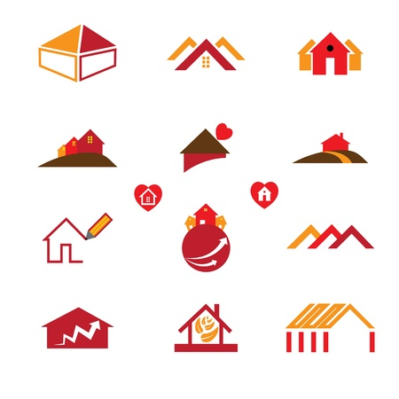 real estate icons: House and office logo icons for real estate business requirements like business cards, brochures, websites, etc.