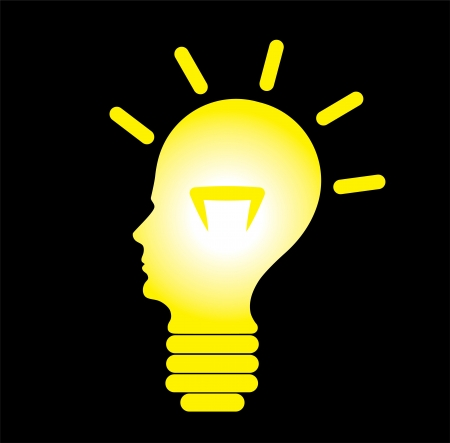 eureka: Human head in shape of a glowing bulb, concept of idea generation, problem solving and creative solution generation. Illustration