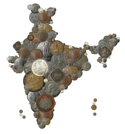 Indian country map created with old, new and vintage india currency coins photo
