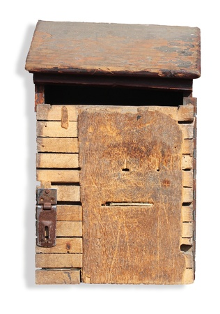 Old, grungy and vintage wooden mailbox  photo