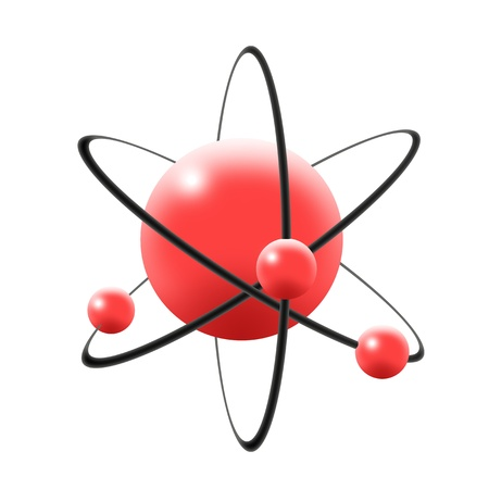 quantum: Illustration of atom in 3d with central nuclues in red color containing proton and neutron and revolving electrons in elliptical orbits