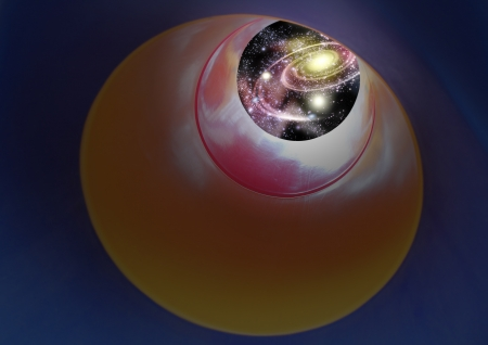 expanding: Vision of night sky - expanding outer space containing galaxy, milkyway with nebula, stars, planets and asteroids through a plastic tunnel