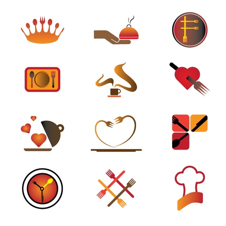 resorts: Set of hotel, resort and restaurant industry related food and logo icons.  Illustration